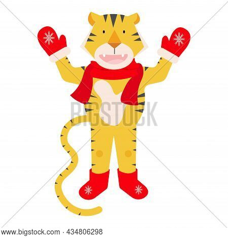 Modern Bright Tiger Vector Illustration On White Background. Vector Chinese Tiger Standing With Scar
