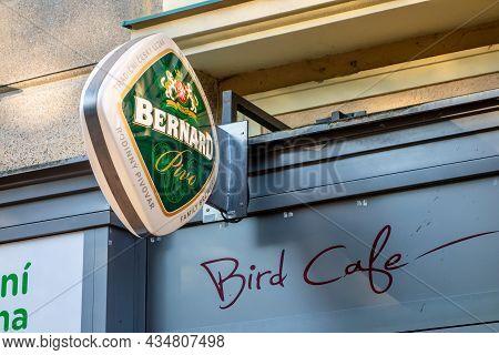 Ostrava, Czech Republic - June 2, 2021: Stylish Green Logo Of A Czech Brewery Bernard On A Wall Of A