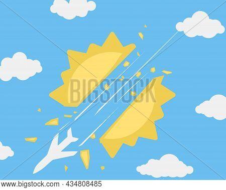 Airplane Sun Smash Humorous Cartoon Color Vector Illustration, Horizontal