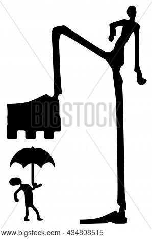 Crush Step Figure Silhouette Stencil Black, Vector Illustration, Vertical, Over White, Isolated