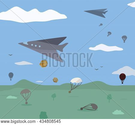 Delivery Shipment Air Dropping Cartoon Color Vector Illustration, Horizontal