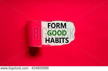 Form Good Habits Symbol. Words 'form Good Habits' Appearing Behind Torn Purple Paper. Beautiful Purp