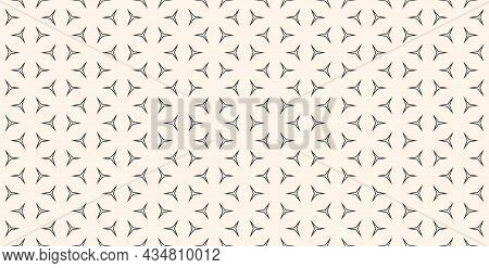 Vector Monochrome Seamless Pattern With Thin Geometric Figures, Triangles. Black And White Abstract