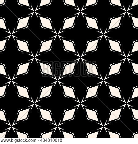 Diamond Grid Ornament. Vector Abstract Black And White Seamless Pattern. Simple Geometric Background