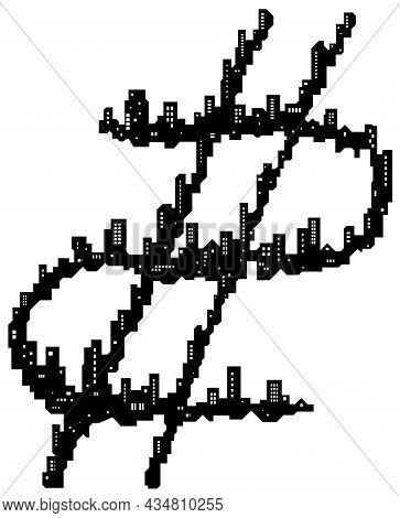 Skyline City Dollar Sign Silhouette Outline Black, Vector Illustration, Horizontal, Over White, Isol