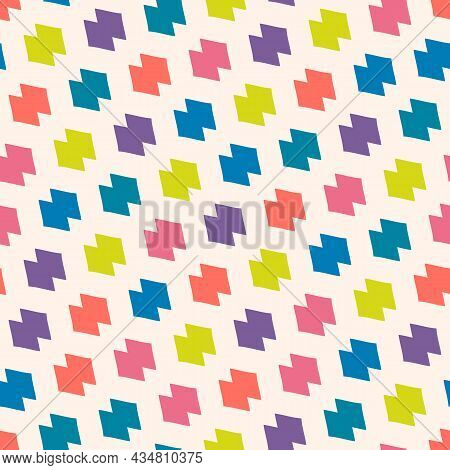 Trendy Funny Geometric Grid Pattern. Vector Seamless Illustration With Abstract Colorful Shapes. Bac