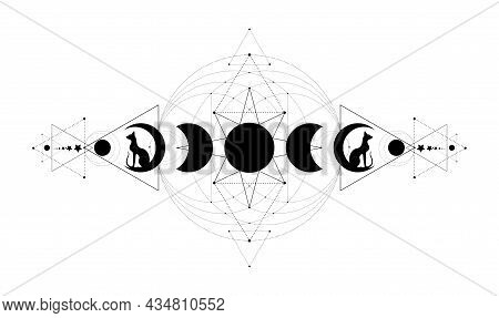Mystical Moon Phases, Sacred Geometry. Triple Moon And Black Cats, Pagan Wiccan Goddess Symbol, Silh