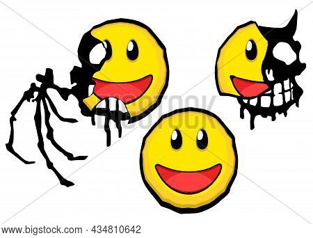 Smile Face Deceptive Mask Breaking Scary Shadow Underneath, Cartoon Color Vector Illustration Design