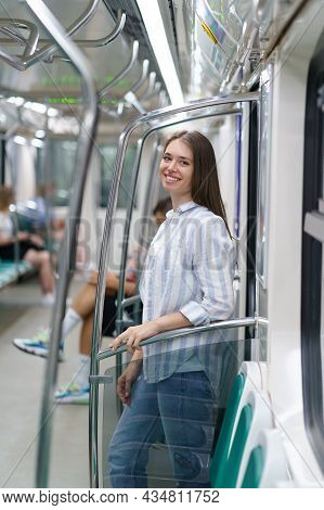 Cheerful Young Girl Inside Metro Carriage Student Return Home After Successful Exam In University. S