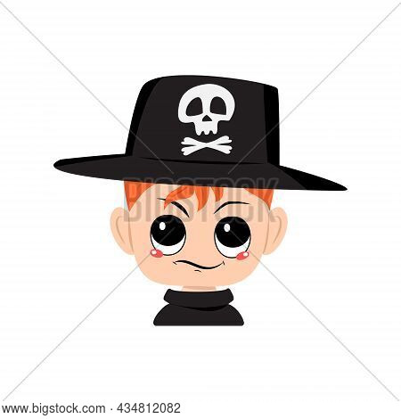 Avatar Of Boy With Red Hair, Emotions Of , Displeased Face In Hat With Skull. Cute Kid With Annoyed
