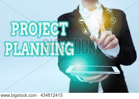 Conceptual Caption Project Planning. Business Showcase Plan And Subsequently Report Progress Within