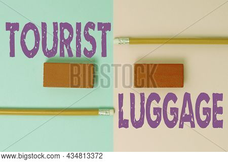 Writing Displaying Text Tourist Luggage. Business Showcase Big Bag That Contains Everything One Need