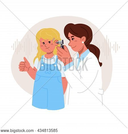 The Female Audiologist Doctor Checks The Girls Ears With Otoscope.she Shows The Ok Sign With Her Han