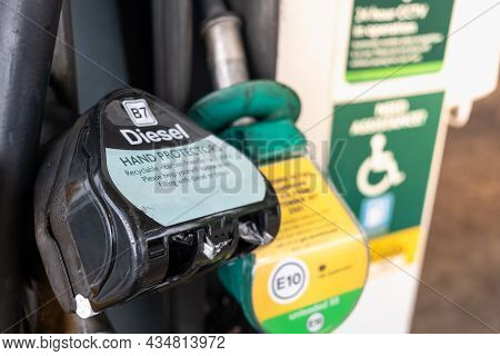 Black Diesel Hand Pistol At A Petrol Station In The United Kingdom As Fuel Shortage Hits The Country