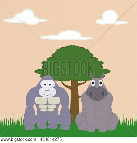 The Friendship Of A Gorilla And A Rhino In The African Savanna