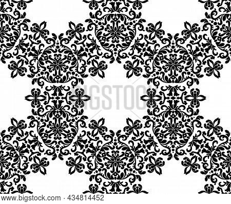 Elegant Volutes With Ornaments Seamless Vector Pattern.black And White. Decorative Texture. Mehndi P