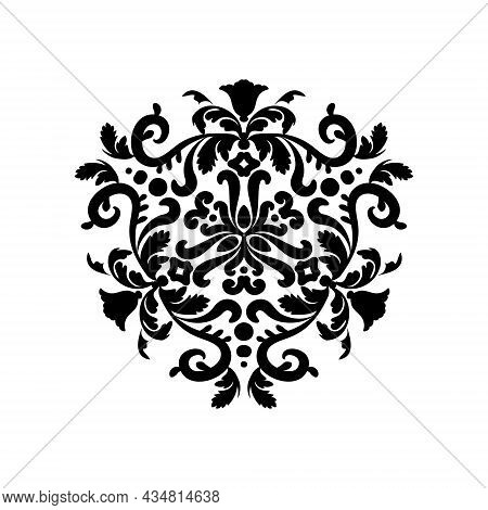 Circular Ornament Mandala. Decorative Circular Ornament Isolated On A White Background. Black And Wh
