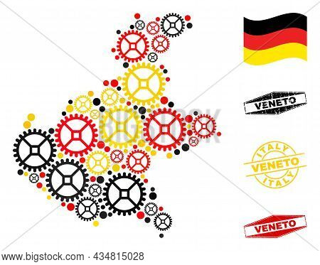 Gear Veneto Region Map Collage And Seals. Vector Collage Is Composed With Repair Workshop Icons In D