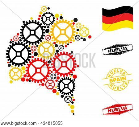 Industrial Huelva Province Map Collage And Seals. Vector Collage Is Composed Of Repair Service Icons
