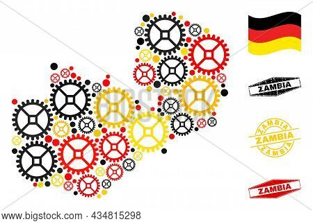 Repair Workshop Zambia Map Collage And Seals. Vector Collage Is Formed From Repair Workshop Icons In