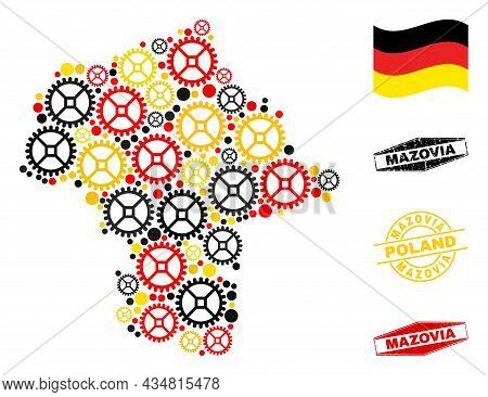 Mechanics Mazovia Province Map Collage And Seals. Vector Collage Is Composed With Mechanics Icons In