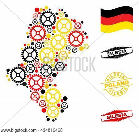 Repair Workshop Silesian Voivodeship Map Mosaic And Stamps. Vector Collage Is Formed From Workshop I