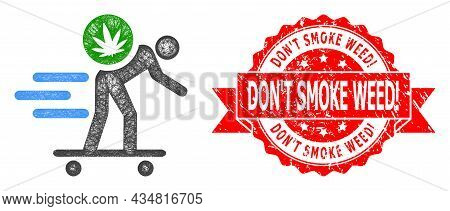Network Express Cannabis Courier Icon, And Don T Smoke Weed Warn. Textured Ribbon Stamp Seal. Red Se