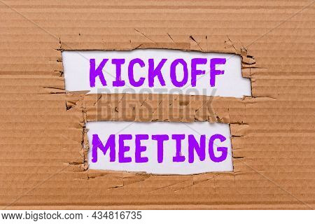 Handwriting Text Kickoff Meeting. Business Concept Special Discussion On The Legalities Involved In