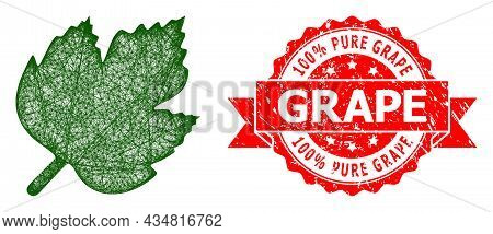 Network Grape Leaf Icon, And 100 Percent Pure Grape Scratched Ribbon Seal Imitation. Red Stamp Seal