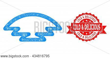Network Ice Hill Icon, And Cold And Delicious Unclean Ribbon Seal Imitation. Red Stamp Seal Contains