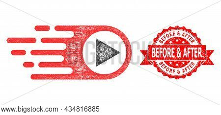 Wire Frame Rush Right Icon, And Before And After Unclean Ribbon Stamp Seal. Red Stamp Seal Contains