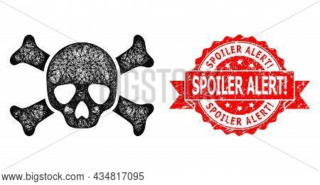 Network Death Skull Icon, And Spoiler Alert Warn. Textured Ribbon Seal. Red Seal Contains Spoiler Al