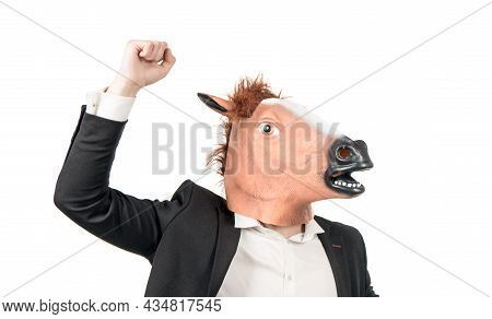 Hardworking Professional. Hardworking Man. Businessman In Horse Head And Suit. Workhorse