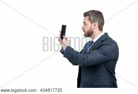 Video Call Right From Your Smartphone. Businessman Make Video Call. Using Mobile Phone For Calling