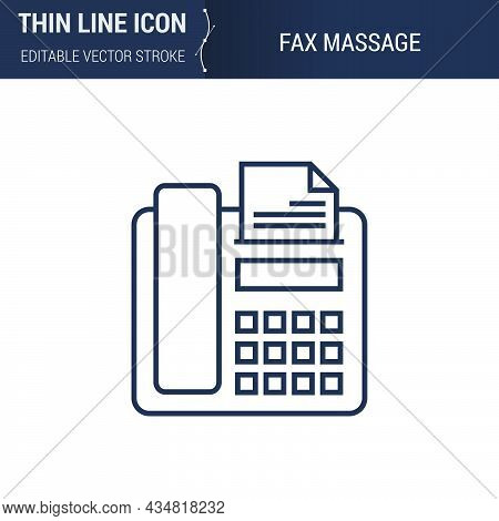 Symbol Of Fax Message Thin Line Icon Of Advertising Media. Stroke Pictogram Graphic Suitable For Inf