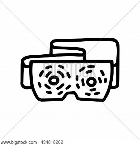Eyes Massage Device Line Vector Doodle Simple Icon