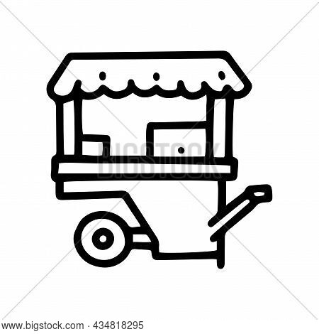 Wheel Market Stall Line Vector Doodle Simple Icon
