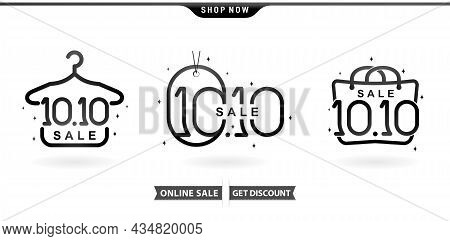 Illustration Of Hanger, Tag And Hand Bag 10.10 Sale, 10.10 Online Sale Model  With Isolated White Ba