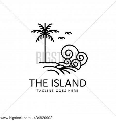 Palm Tree Tropical Island Ocean Waves Monoline Style Design, Island Icon Isolated On White Backgroun