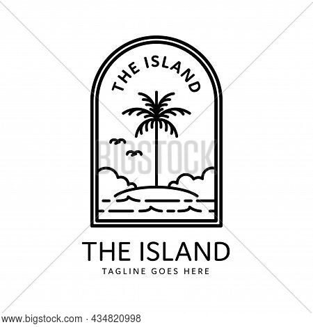 Monoline Style Tropical Island And Palm Tree Badge Design, Island Icon Isolated On White Background