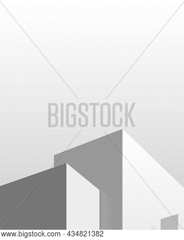 Background Design. Podium With Geometric Shapes. Gray Studio For Product Display With Copy Space. 3d