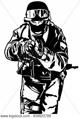 Special Police Forces - Black And White Illustration With Police Force Officer Aiming A Firearm, Vec