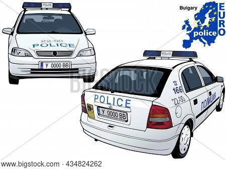 Bulgarian Police Car - Colored Illustration From Series Euro Police, Vector
