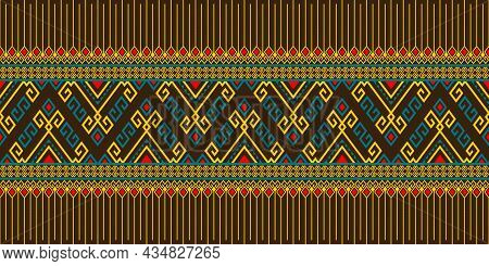 Yellow Green Tribe Or Native Seamless Pattern On Brown Background In Symmetry Rhombus Geometric Bohe