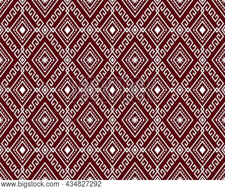 White Tribe Or Ethnic Seamless Pattern On Red Background In Symmetry Rhombus Geometric Bohemian Styl