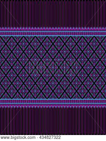 Magenta Turquoise Native Or Ethnic Seamless Pattern On Black Background In Symmetry Rhombus Geometri