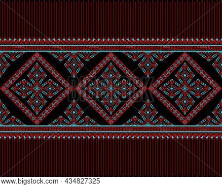 Red Turquoise Native Or Tribe Seamless Pattern On Black Background In Symmetry Rhombus Geometric Boh