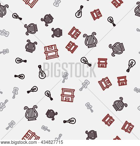 Set Line Guitar, Ancient Greek Lyre, Electric Bass Guitar And Piano On Seamless Pattern. Vector