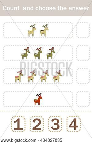 How Many Counting Game With Funny Forest Animals Deer. Preschool Worksheet, Kids Activity Sheet, Pri
