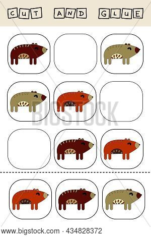 Sudoku For Kids With Funny Forest Animals Bears . Children's Puzzles. Preschool Worksheet, Kids Acti